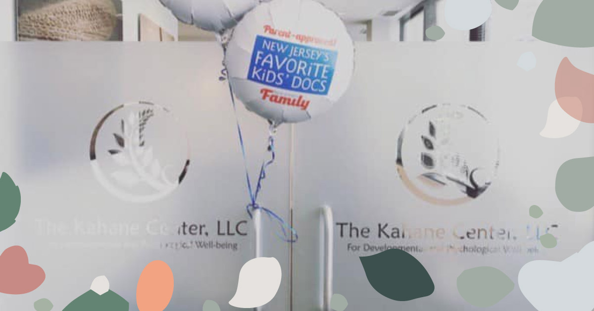 """featured image showing the door to The Kahance Center with festive baloons saying """"New Jersey's favorite kids' doctor"""""""