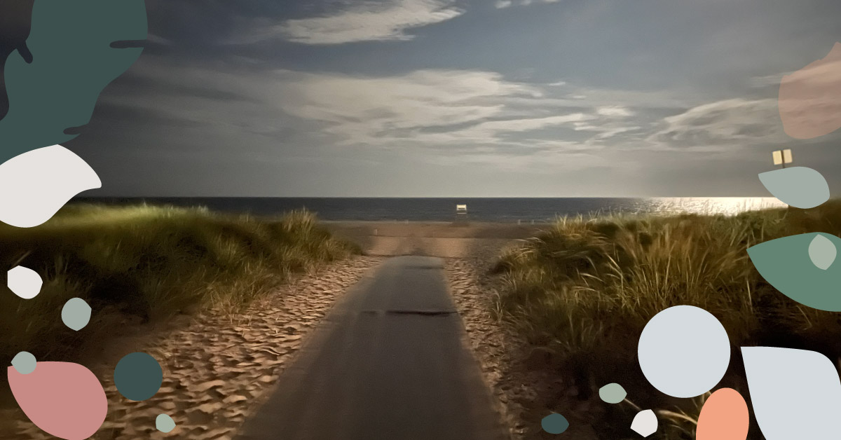 featured image showing a road towards a sandy beach and sea